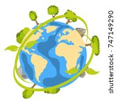 earth planet icon with trees... | Shutterstock .eps vector #747149290
