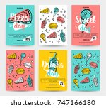 set of colorful fast food... | Shutterstock .eps vector #747166180