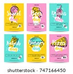set of colorful fast food... | Shutterstock .eps vector #747166450