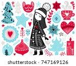 doodles christmas elements.... | Shutterstock .eps vector #747169126