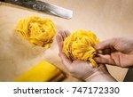 tagliatelle. typical bolognese... | Shutterstock . vector #747172330