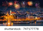 fireworks over the old town in...   Shutterstock . vector #747177778