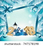 merry christmas background with ... | Shutterstock .eps vector #747178198