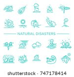 line icons for natural disaster ...