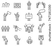 protesting people icons set.... | Shutterstock .eps vector #747181330