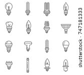 lamps and spotlights icons set. ... | Shutterstock .eps vector #747181333
