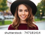 close up portrait of a... | Shutterstock . vector #747181414