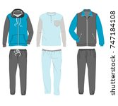 set of casual home clothes for... | Shutterstock .eps vector #747184108
