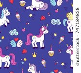unicorn seamless pattern.pretty ... | Shutterstock .eps vector #747184828