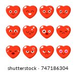set of character of heart in... | Shutterstock .eps vector #747186304