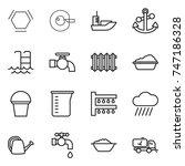 Thin Line Icon Set   Hex...