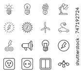 thin line icon set   bulb ... | Shutterstock .eps vector #747192724