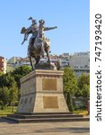 Small photo of ISTANBUL, TURKEY - SEPTEMBER 14, 2017: It is a monument to the Kirghiz legendary hero Manas on the shore of Golden Horn Bay.