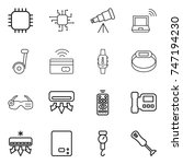 thin line icon set   chip ... | Shutterstock .eps vector #747194230