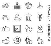 thin line icon set   bio  sun... | Shutterstock .eps vector #747194278