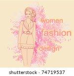 trendy girl in a short dress on ...   Shutterstock .eps vector #74719537