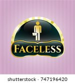 gold badge with businessman... | Shutterstock .eps vector #747196420