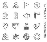 thin line icon set   pointer ... | Shutterstock .eps vector #747196774