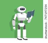robot reading a book flat... | Shutterstock .eps vector #747197254