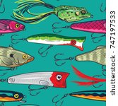 pop and colorful fishing lures... | Shutterstock .eps vector #747197533