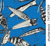 fishing lures seamless pattern. ... | Shutterstock .eps vector #747197539