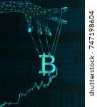 bitcoin price manipulation... | Shutterstock .eps vector #747198604
