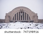 A snowy view of the historic Union train station, now a combination museum and Amtrak station, in Cincinnati, Ohio.