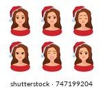 vector set of cartoon female... | Shutterstock .eps vector #747199204