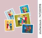 happy family pinned portraits... | Shutterstock . vector #747200998