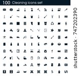 cleaning icon set with 100...