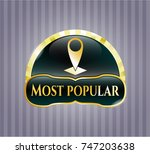 gold emblem or badge with map... | Shutterstock .eps vector #747203638