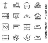 thin line icon set   lighthouse ... | Shutterstock .eps vector #747205180