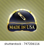 golden badge with cutter icon... | Shutterstock .eps vector #747206116