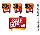 vector sale paper banner set... | Shutterstock .eps vector #747208390