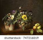 Still Life with Pansies, by Henri Fantin-Latour, 1874, French impressionist painting, oil on canvas. This is one of thirty-one paintings that Fantin-Latour, produced in 1874