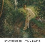 Bather in the Woods, by Camille Pissarro, 1895, French impressionist painting, oil on canvas. This is one of a series of nude peasant women bathing he painted in the 1890s