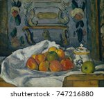 dish of apples  by paul cezanne ... | Shutterstock . vector #747216880