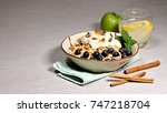 a bowl of breakfast muesli with ... | Shutterstock . vector #747218704