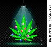 christmas hemp tree with... | Shutterstock .eps vector #747219604
