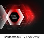 digital techno abstract... | Shutterstock .eps vector #747219949