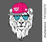 the poster with the image lion... | Shutterstock .eps vector #747223273