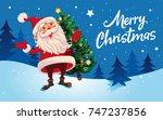 christmas. cute cartoon santa... | Shutterstock .eps vector #747237856