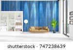 scene with brand new interior... | Shutterstock . vector #747238639