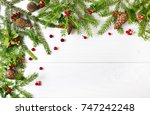 christmas greeting card. text... | Shutterstock . vector #747242248