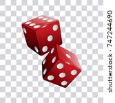 pair of red casino dice... | Shutterstock .eps vector #747244690