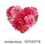 Floral Heart With Red Rose...