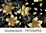 3d golden flowers seamless... | Shutterstock .eps vector #747256933