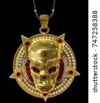 jewelry gold skull pendant with ... | Shutterstock . vector #747258388