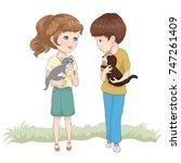 cute girl vector design.animal...   Shutterstock .eps vector #747261409