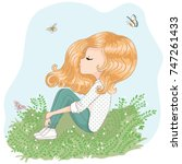 cute girl vector design   Shutterstock .eps vector #747261433